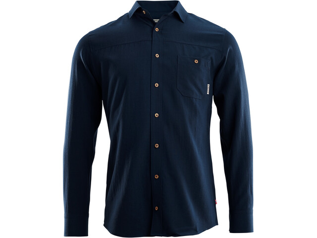 Aclima Woven Wool Shirt Men navy blazer